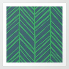 Painted Herringbone - in Emerald Art Print