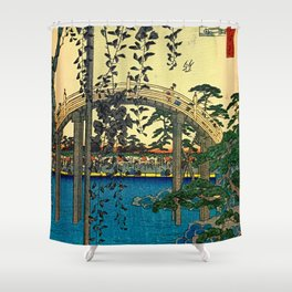 Hiroshige View Of Bridge Over Water Shower Curtain