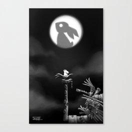 Rabbit on the moon Canvas Print