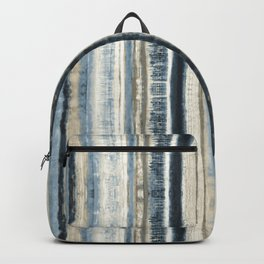 Distressed Blue and White Watercolor Stripe Backpack