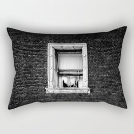 Brick Wall, Window, Torn Curtains in Los Angeles Rectangular Pillow