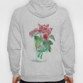 Watercolor Poinsettia flower Hoody