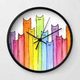 Cat Rainbow Watercolor Pattern Wall Clock