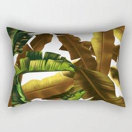 tropical banana leaves pattern gold Rectangular Pillow