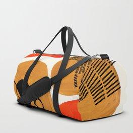 Mid Century Modern Abstract Minimalist Retro Vintage Style Yellow ochre Orange Organic Shapes With I Duffle Bag