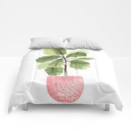 Fiddle-Leaf Fig (Watercolor) Comforters