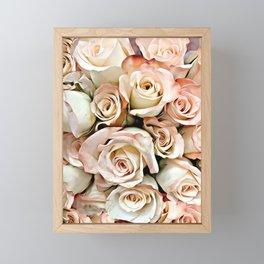 Delicate Peach Roses Framed Mini Art Print