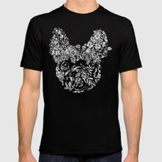 Botanical frenchie Black SMALL Mens Fitted Tee