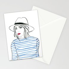 Stripes & Red Lips Stationery Cards