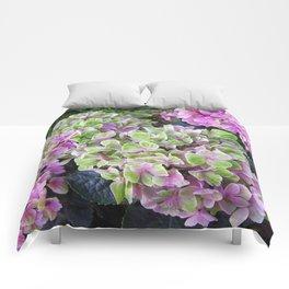 Pink & Green Hydrangea Comforters