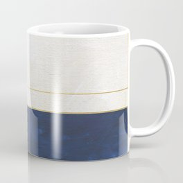Orange, Blue And White With Golden Lines Abstract Painting Coffee Mug