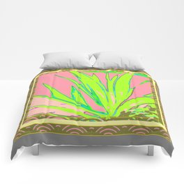 Chartreuse Plant Foliage Pink-Grey Patterns Comforters