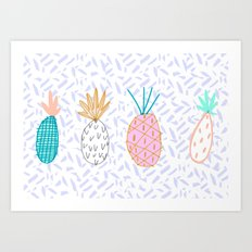 Pineapple. Illustration, print, pattern, fruit, design, fun, Art Print