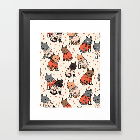 Sweater Cats - by Andrea Lauren Framed Art Print