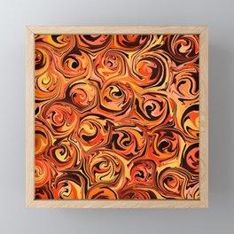Honey Orange Fire Swirl Abstract Framed Mini Art Print