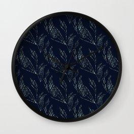 Simple floral pattern dark blue background. Wall Clock