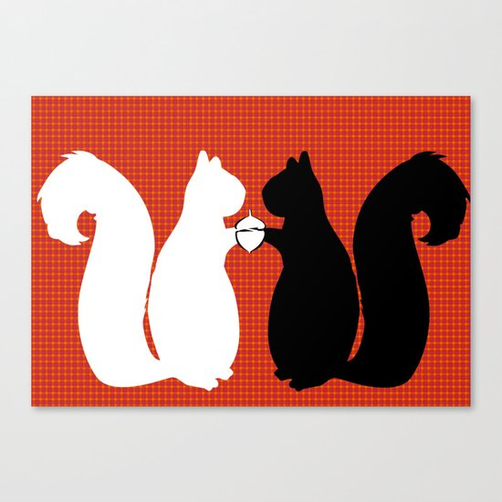 Animals Illustration - Squirrels Canvas Print
