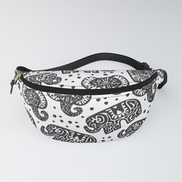 Beautiful pattern Indian Elephant with polka dot ornaments Fanny Pack