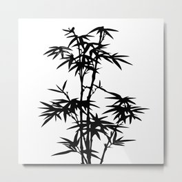 Bamboo Silhouette Black And White Metal Print