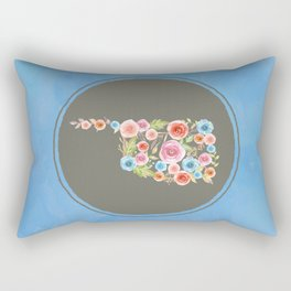 Oklahoma Watercolor Flowers on Blue Rectangular Pillow