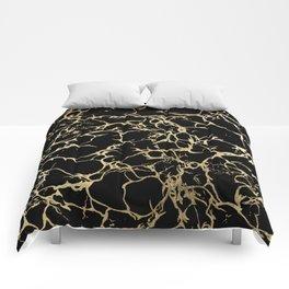 Stylish black faux gold foil elegant marble Comforters