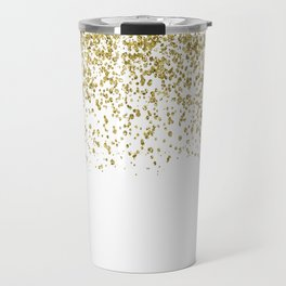 Sparkling gold glitter confetti on simple white background - Pattern Travel Mug