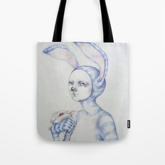 The white rabbit Tote Bag