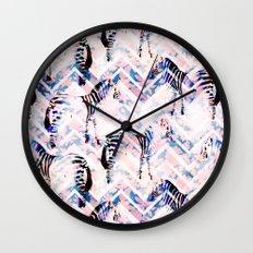 Zebras in bloom Wall Clock