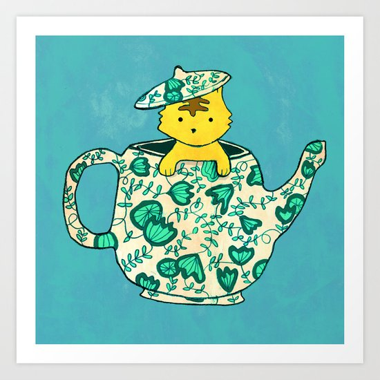 Dinnerware sets - Kitten in a teapot Art Print