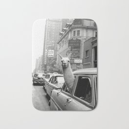 Llama Riding in Taxi, Black and White Vintage Print Bath Mat