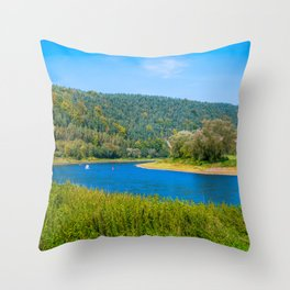 Autumn at the Elbe river Throw Pillow