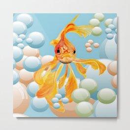 Vermillion Goldfish Blowing Bubbles Metal Print