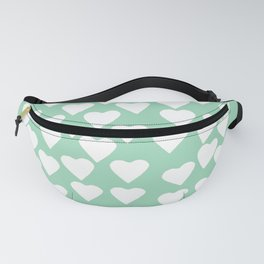 Hearts Heart White on Mint Fanny Pack