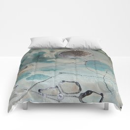 still waters - mixed media ocean collage in modern fresh colors mint, teal, cream, white, and gold Comforters