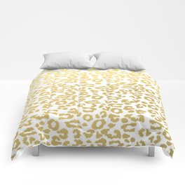 Gold Leopard Animal Print Ink Nature Jungle Exotic Pattern Comforters