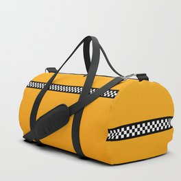 NY Taxi Cab Yellow with Black and White Check Band Duffle Bag