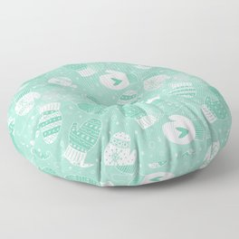Winter Mittens Mint Floor Pillow