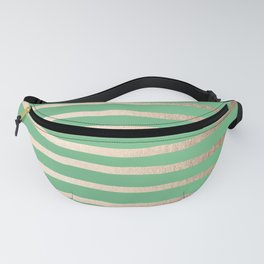 Abstract Drawn Stripes Gold Tropical Green Fanny Pack