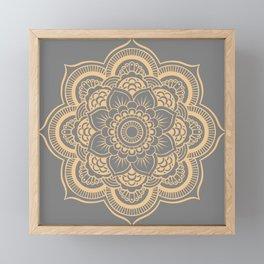 Mandala Flower Gray & Peach Framed Mini Art Print