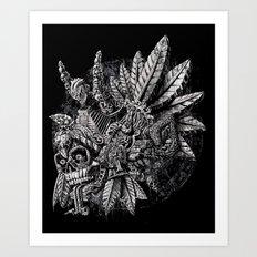 Aztec Great Lizard Warrior 1 (Triceratops) Art Print