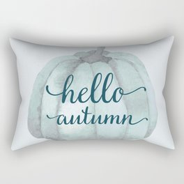 hello autumn blue pumpkin Rectangular Pillow