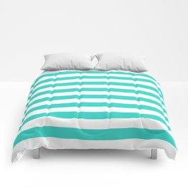 Narrow Horizontal Stripes - White and Turquoise Comforters