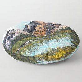 Bob Ross Mountain Artwork Floor Pillow