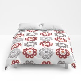 Dark Pink and Gray Floral - Large Comforters