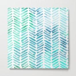 Handpainted Chevron pattern - light green and aqua - stripes Metal Print
