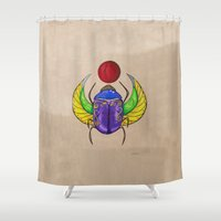 egyptian Shower Curtains featuring Egyptian Scarab by K.ForstnerArt