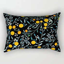 Oranges Black Rectangular Pillow