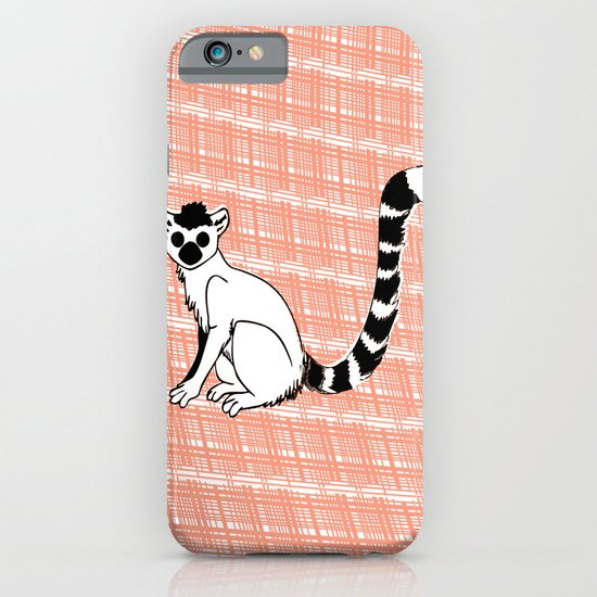 Lemur Animal on  pink pattern iPhone & iPod Case