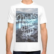 Never Give Up MEDIUM White Mens Fitted Tee