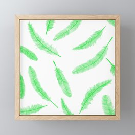 Green feathers Framed Mini Art Print